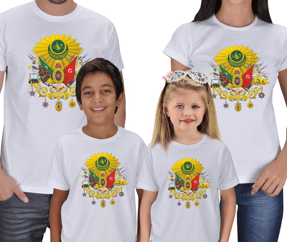 Kişiye Özel Osmanlı Devlet Arması 4lü Aile Tişörtü