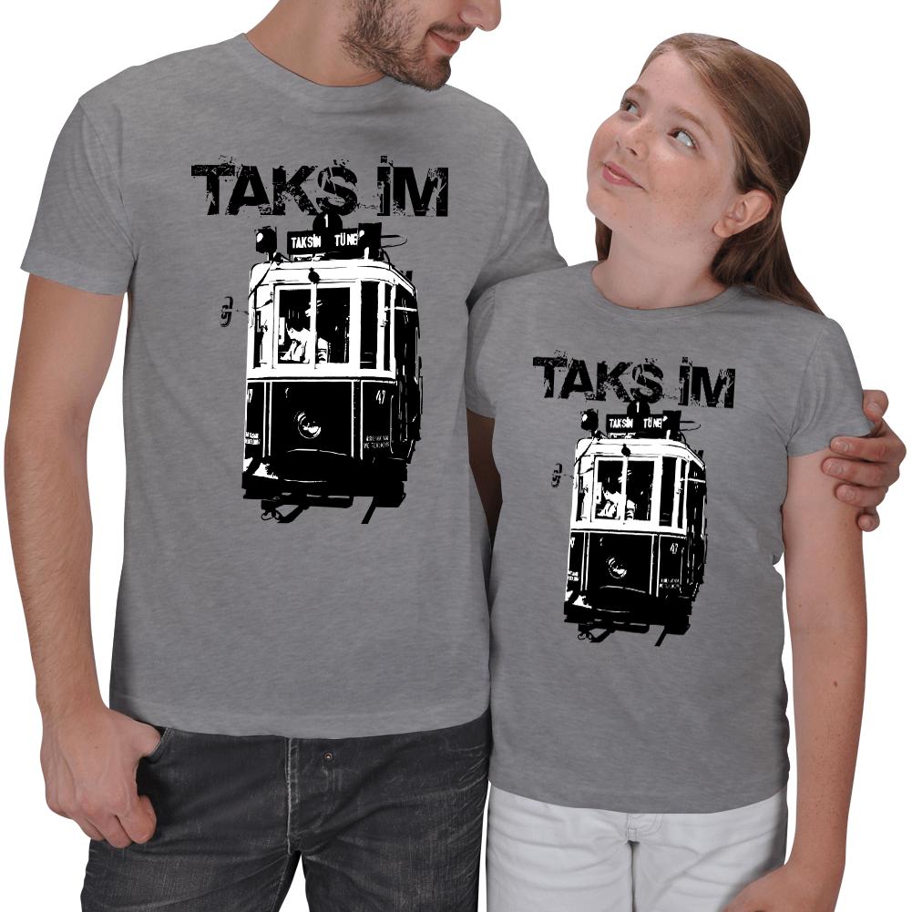Taksim Baskılı Baba Kız Tişörtü