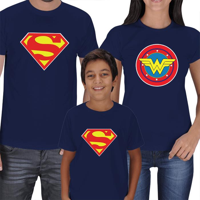 Superman ve Wonderwoman 3lü Aile Tişörtleri