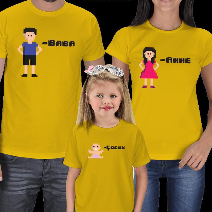 Pixelart Anne Baba Kız Çocuk Tişörtleri