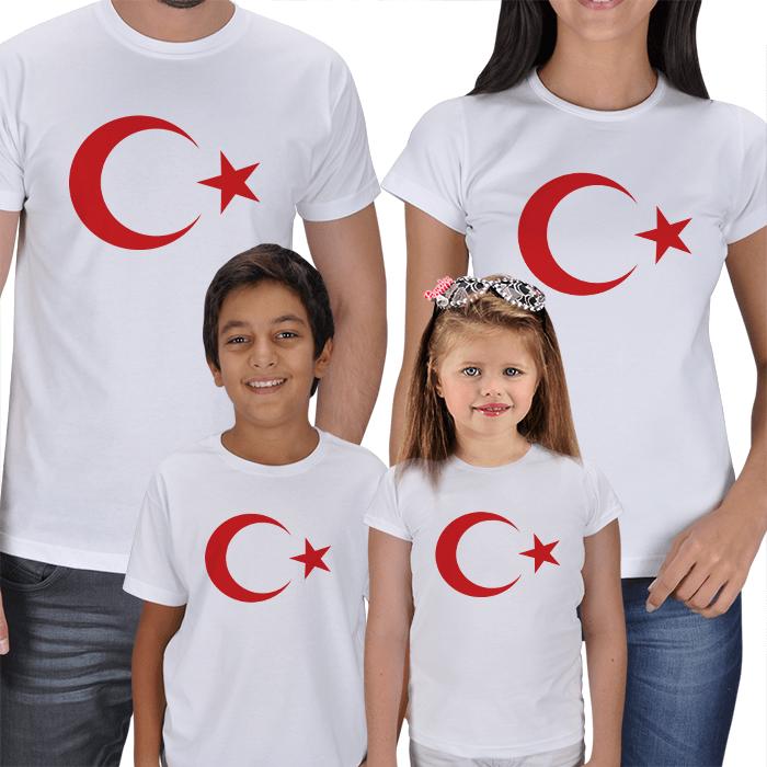 Ay Yıldız 4lü Aile Tişörtleri