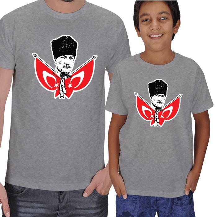 Kişiye Özel Atatürk Baskılı Baba Oğul Tişörtler