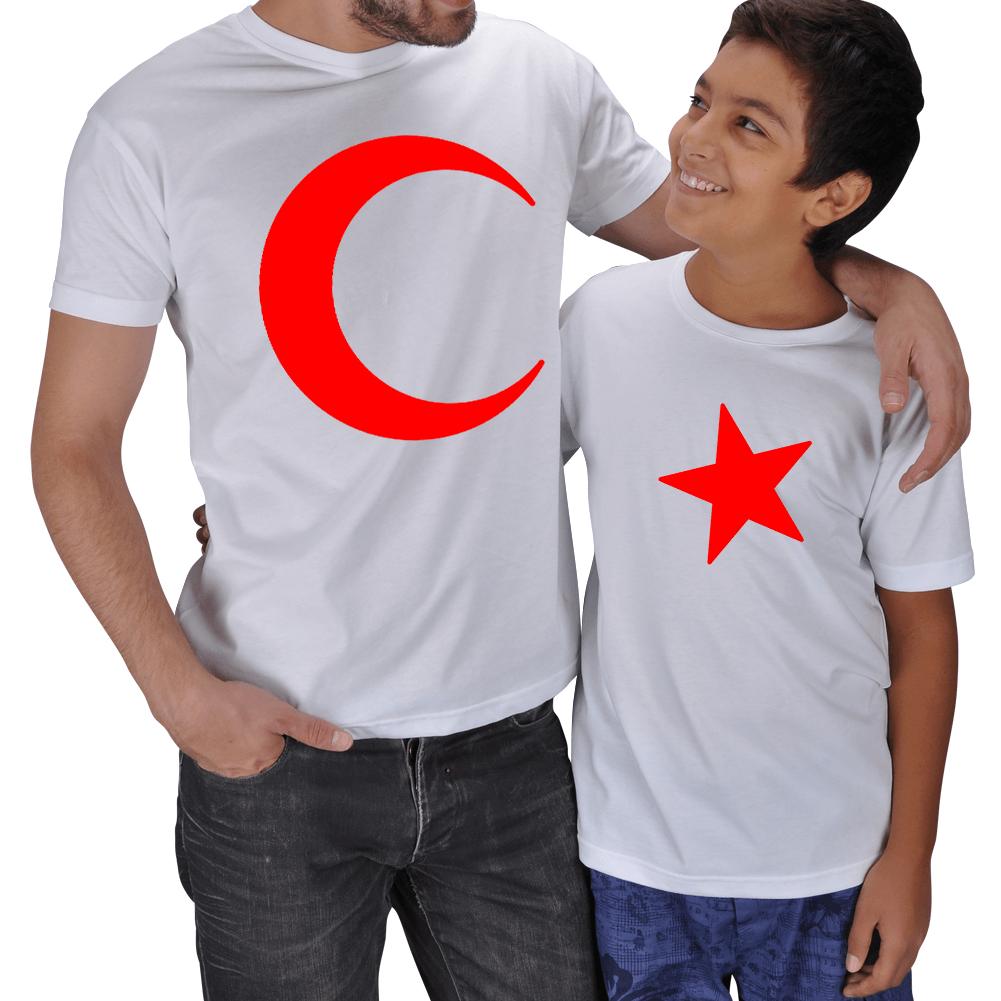 Ay Yıldız Baba ve Erkek Çocuk Tişört