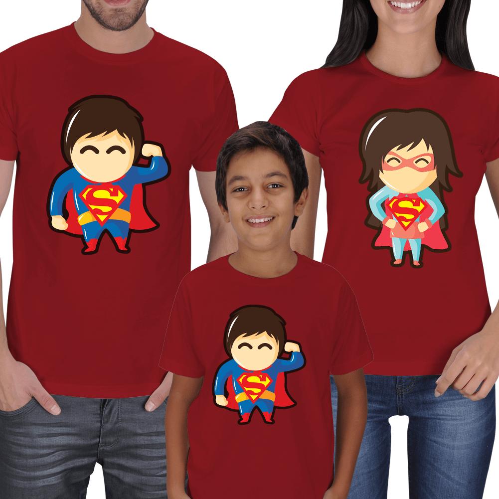 Kişiye Özel Süper Anne-Baba ve Erkek Çocuk Tişörtleri
