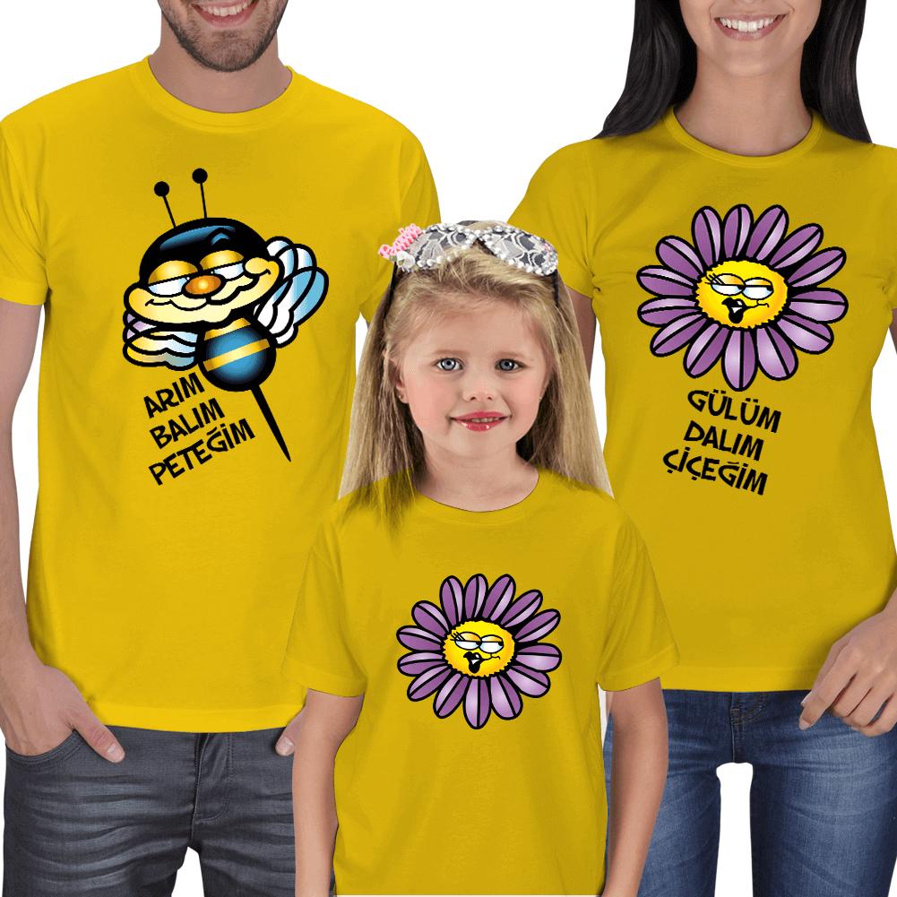 Kişiye Özel Arım Balım Peteğim Aile Kombinli Tişörtler