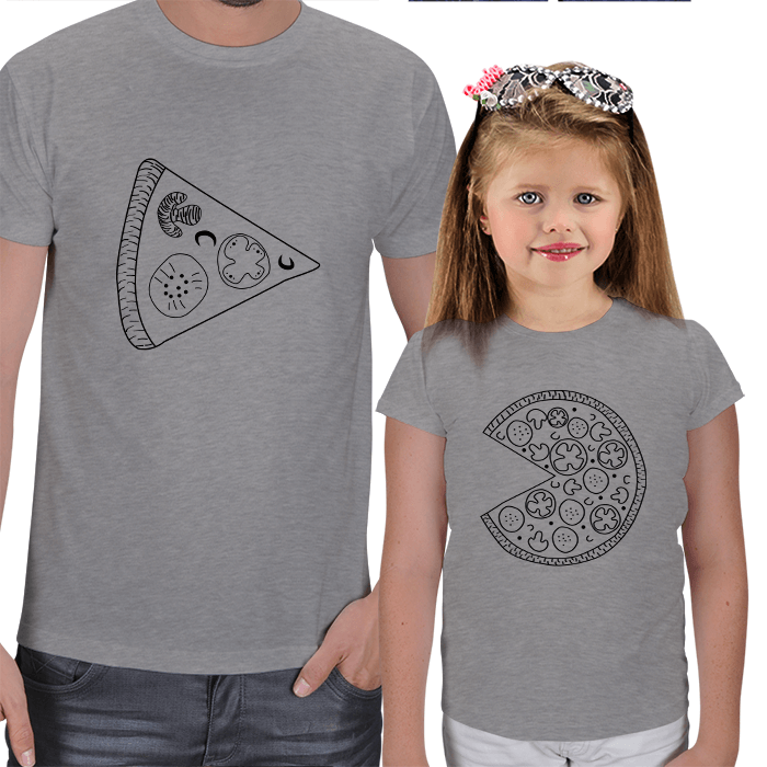 Pizza Tasarımlı Baba Kız Çocuk Tişörtü