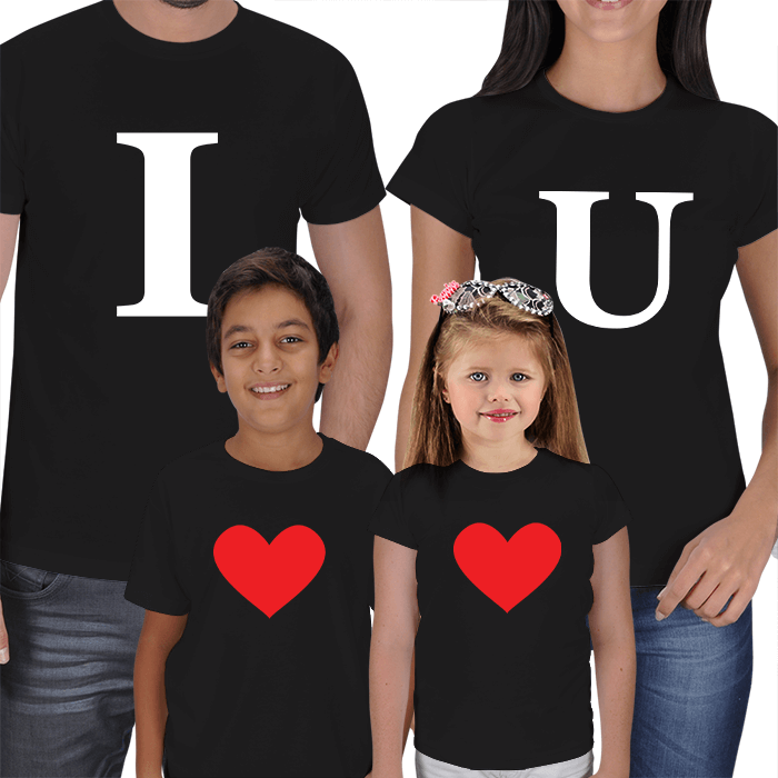 I Love U - 4lü Aile Kombin Tişörtler