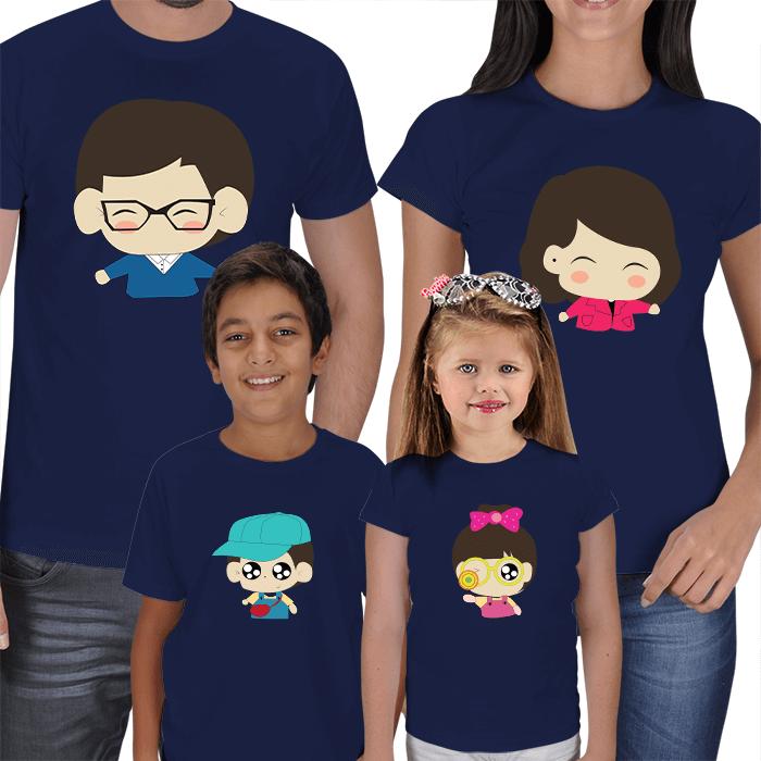 Chibi Anne Baba Çocuk 4lü Tişört Kombinleri