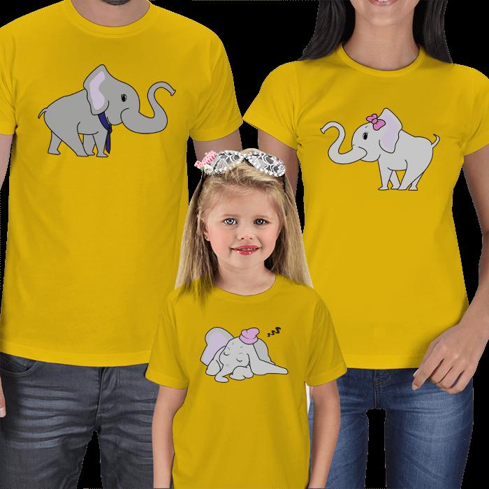 Sevimli Filler 3lü Aile Tişörtleri