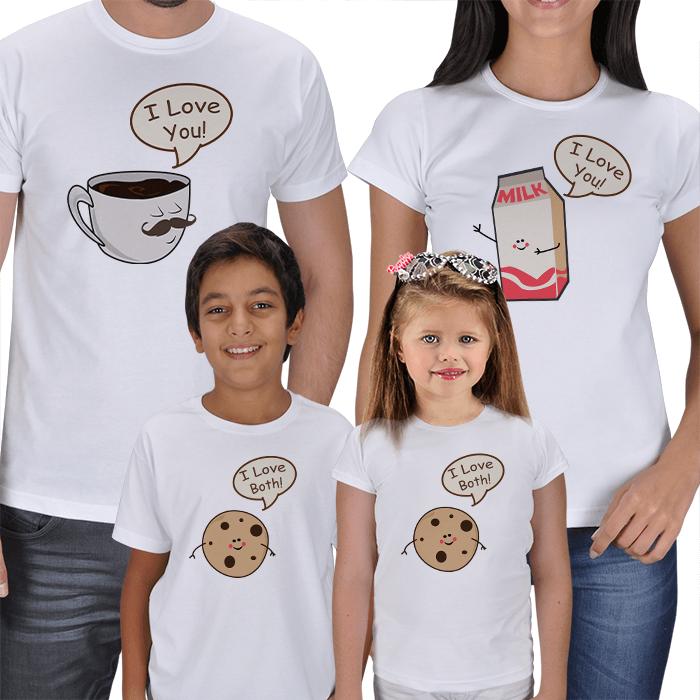 Kahve Süt ve Kurabiyeler 4lü Aile Tişörtü