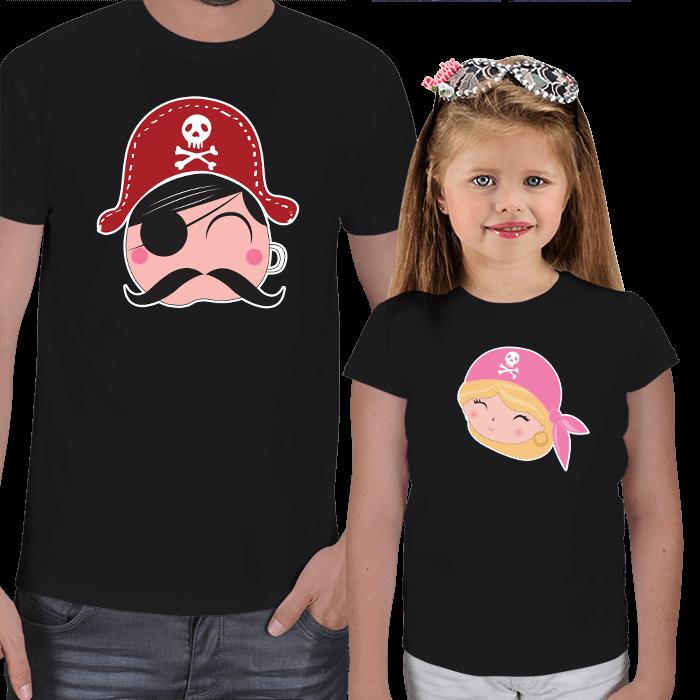 Korsanlar Baba ve Kız Tişört Kombini