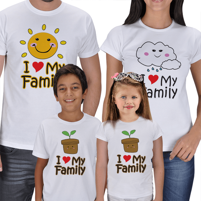 I Love My Family 4lü Aile T-shirts
