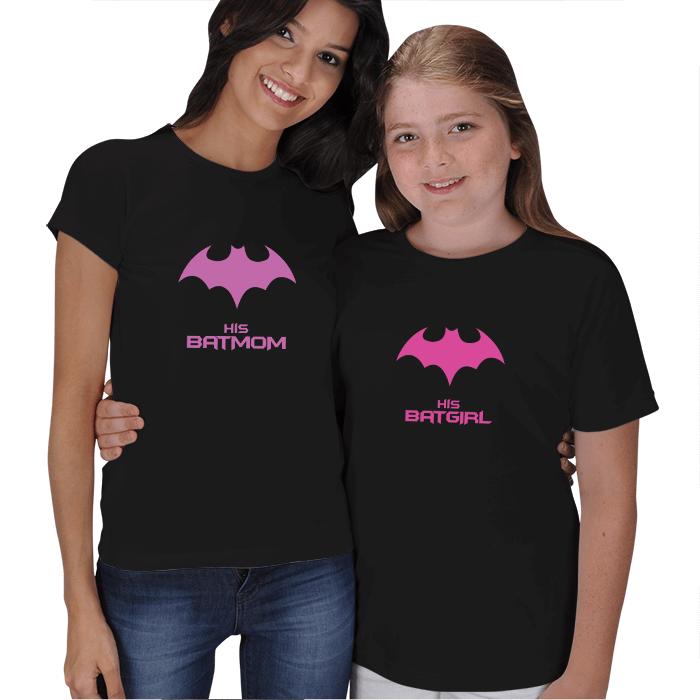 Batmom ve Batgirl Anne Kız Tişört