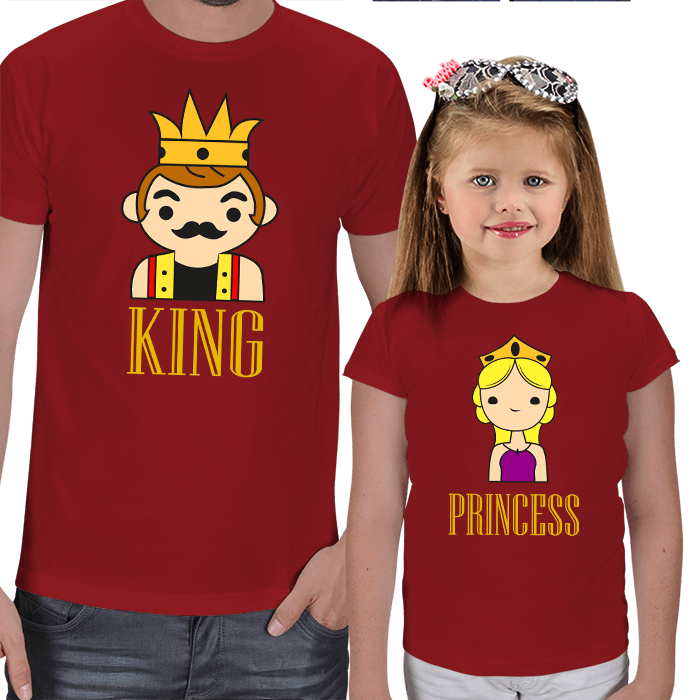 King and Princess Baskılı Baba - Kız Tişörtleri