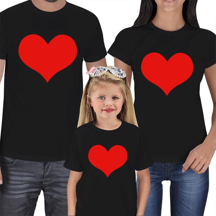 Kalp Baskılı Anne Baba Çocuk Tişört