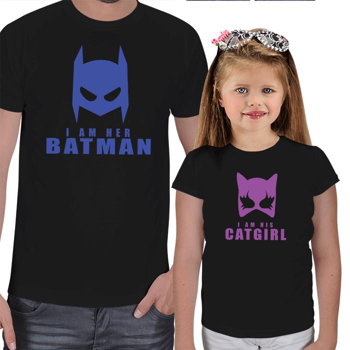 Batman and Catgirl Baba-Kız Tişört Kombini