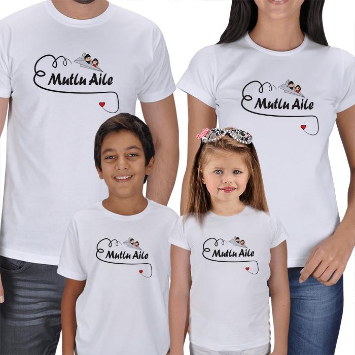 Mutlu Aile 4lü Tişört Kombini