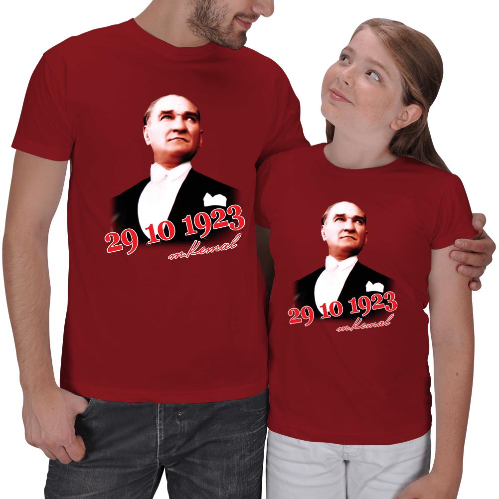 Kişiye Özel Atatürk ve Cumhuriyet Baskılı Baba Kız Tişört