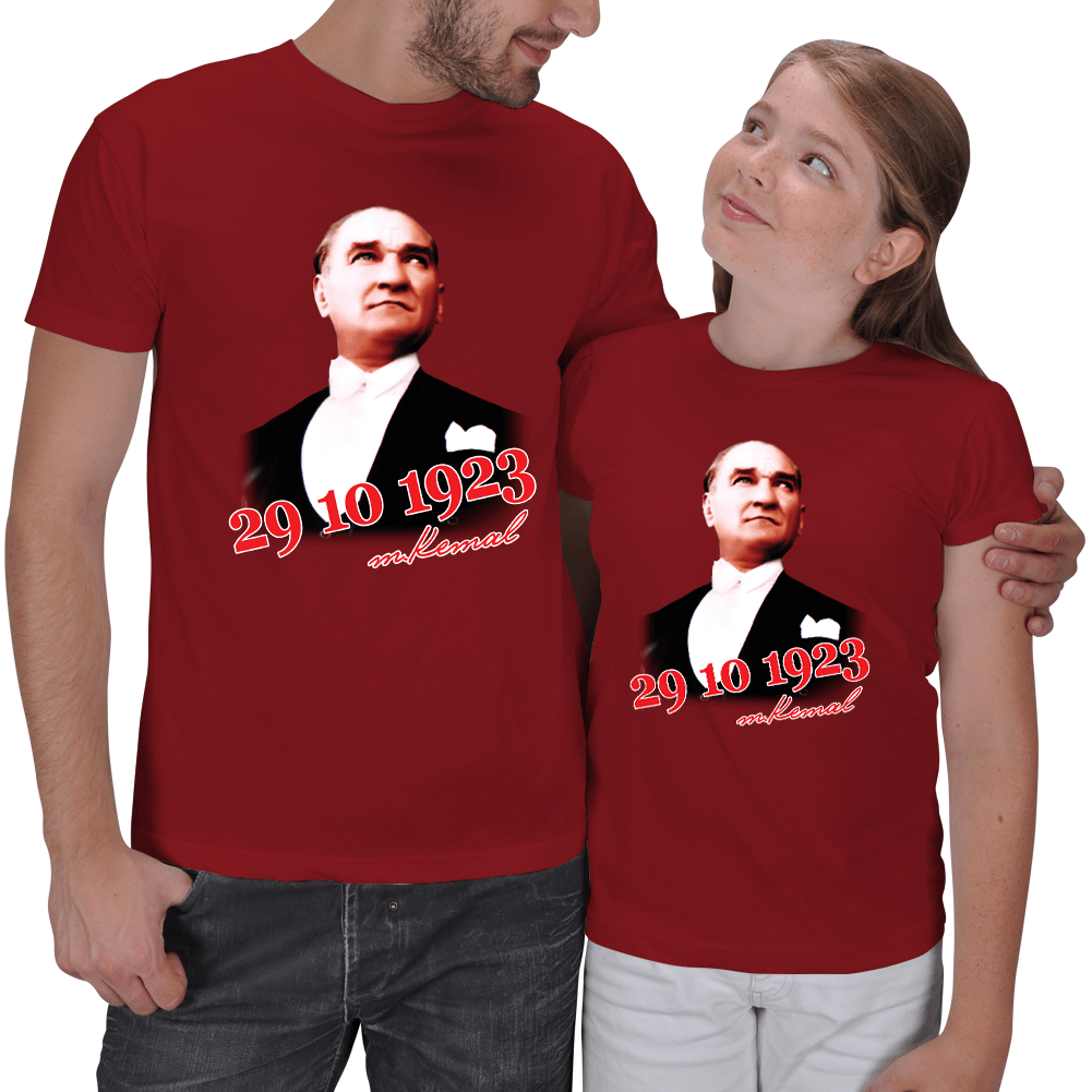 Atatürk ve Cumhuriyet Baskılı Baba Kız Tişört