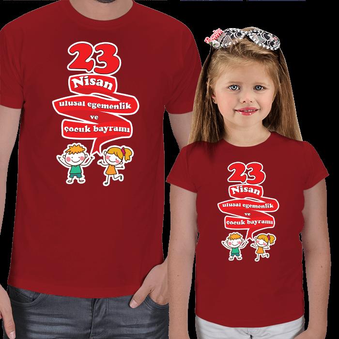 Kişiye Özel 23 Nisan Baba ve Çocuk Tişörtleri
