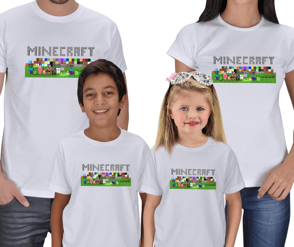 Minecraft Anne Baba Erkek Çocuk Tişörtleri