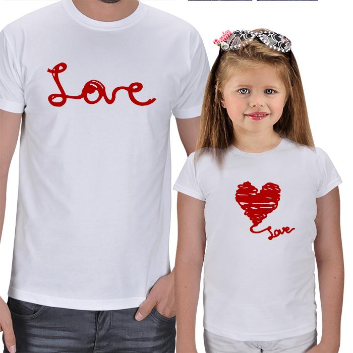 Love Baskılı Baba Kız Çocuk Tişört