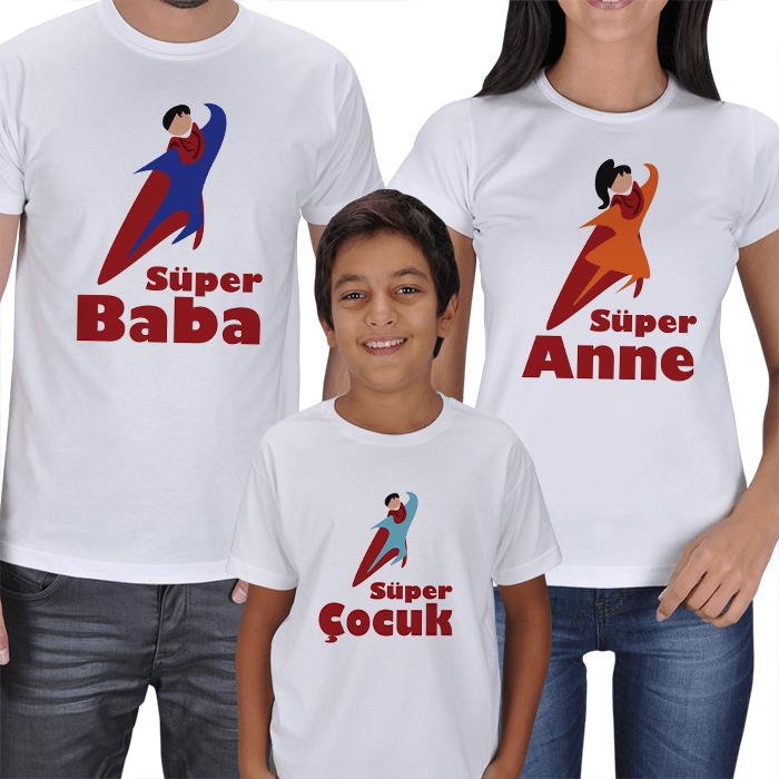 Süper Aile Anne Baba Çocuk 3lü Tişörtler