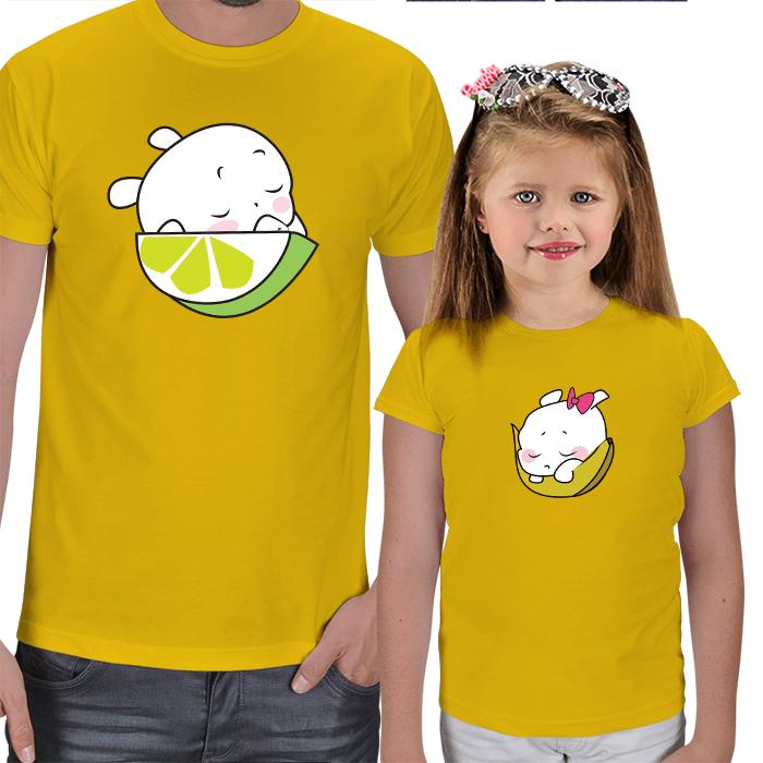Uykucu Meyveler Baba-Çocuk Tişörtleri