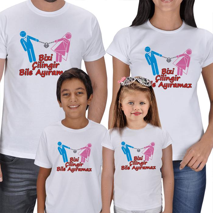 Bizi Çilingir Bile Ayıramaz 4lü Aile Tişörtleri