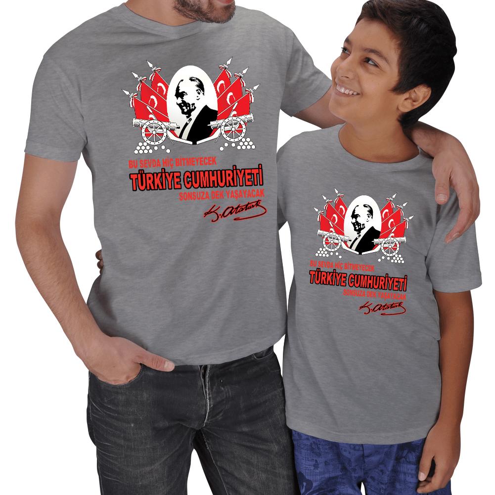 Kişiye Özel Atatürk ve Cumhuriyet Baskılı Baba Oğul Tişört