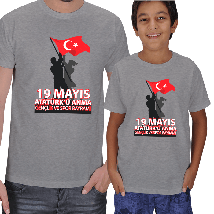 Kişiye Özel 19 Mayıs Baba ve Çocuk Tişörtleri