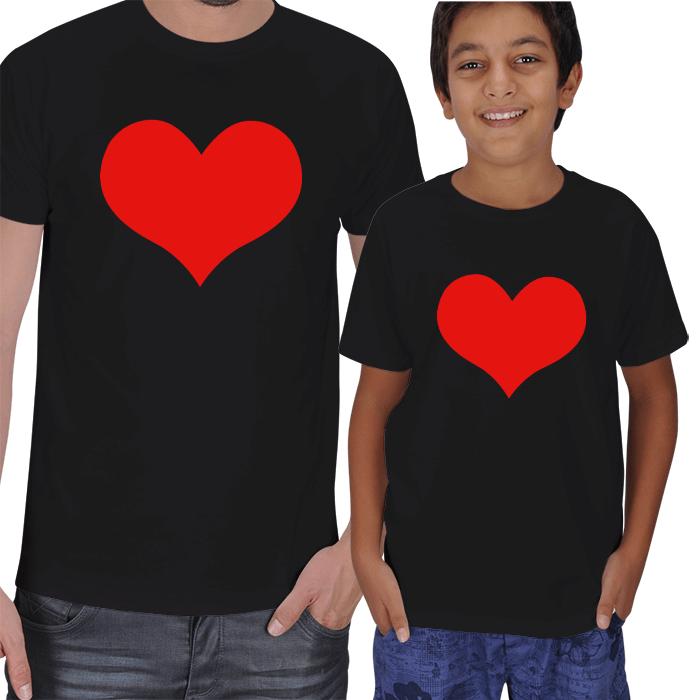 Kalp Baskılı Baba Oğul Hediye Tişörtler