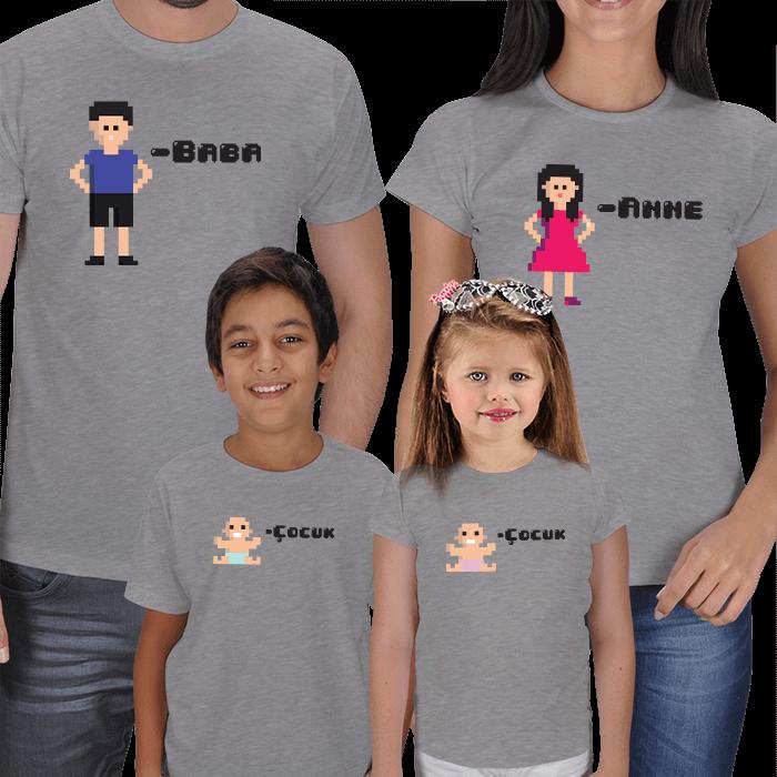 Pixelart Anne Baba Erkek Çocuk Tişörtleri