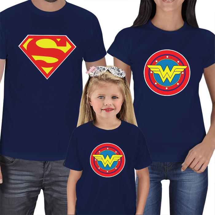 Superman ve Wonderwoman Aile Tişörtleri