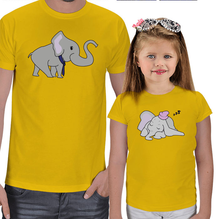 Baba ve Kız Çocuk 2li T-shirt Kombinleri