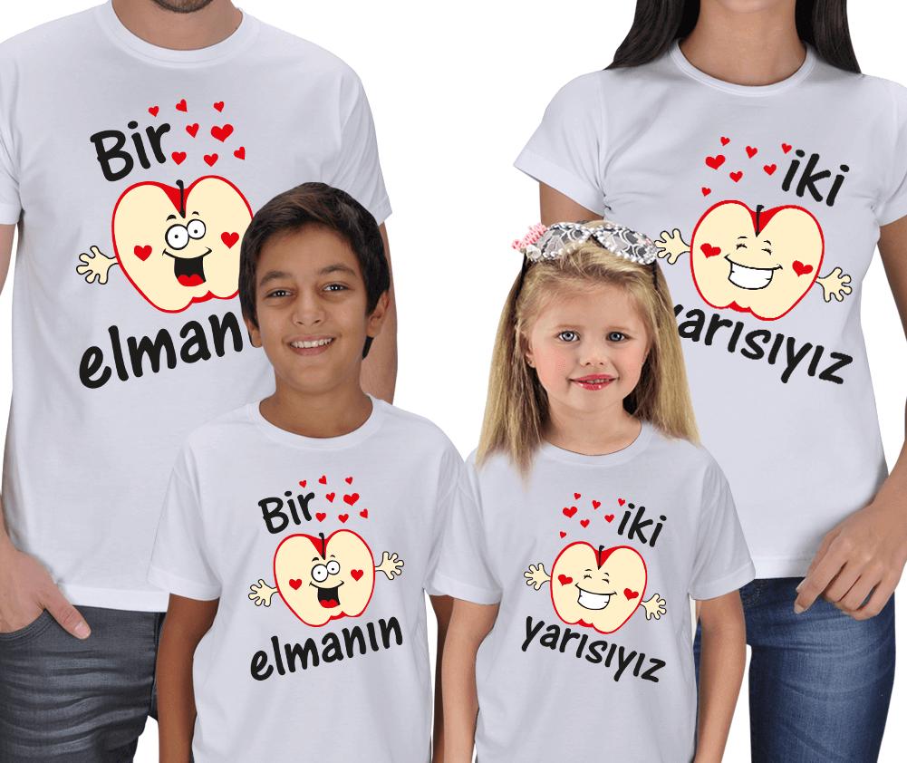 Bir Elmanın İki Yarısıyız 4lü Aile Tişörtü