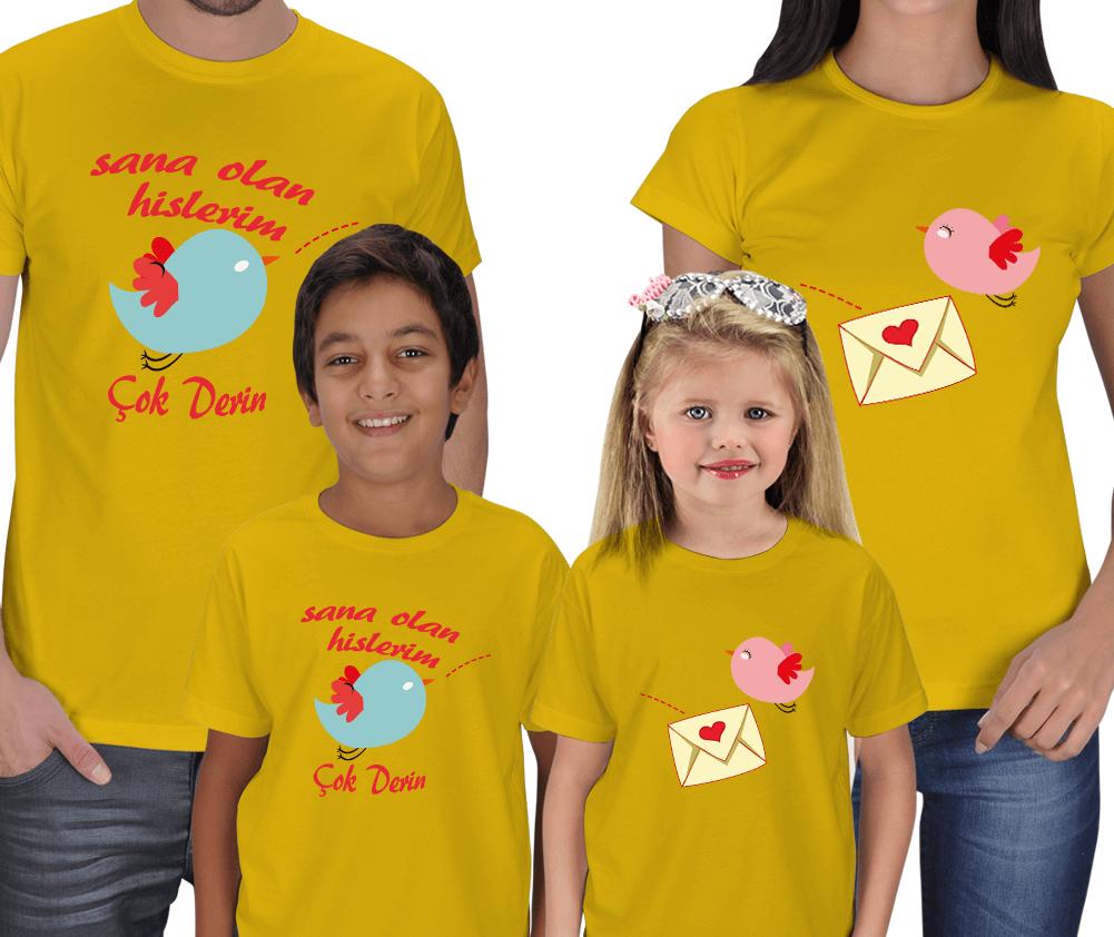 Kişiye Özel Sana Olan Hislerim 4lü Aile Tişörtleri