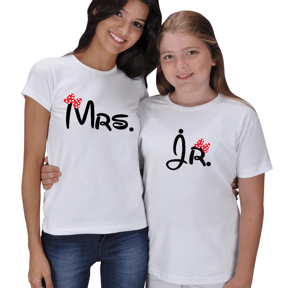 Kişiye Özel Mrs. ve Jr. Anne Kız Çocuk Tişört Kombini