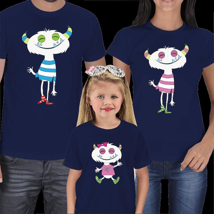 Sevimli Canavarlar 3lü Aile Tişörtleri