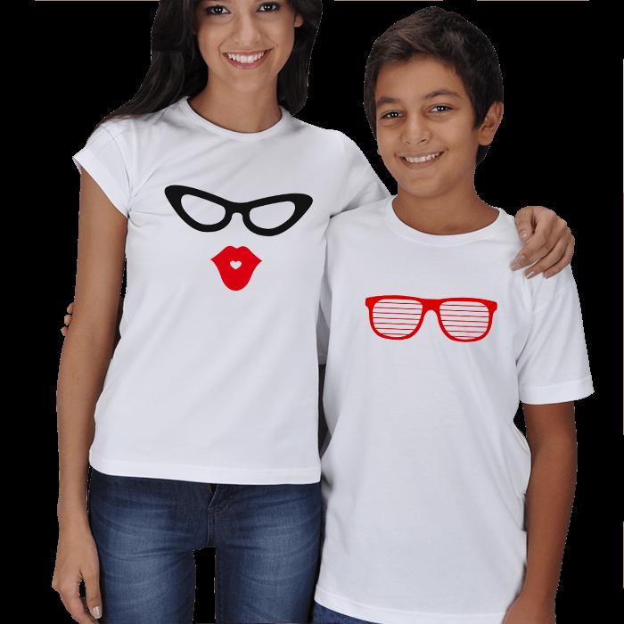 Anne Çocuk Gözlüklü Kombin Tişörtler