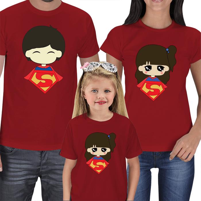 Süper Anne Baba Çocuk Tişört Kombinleri