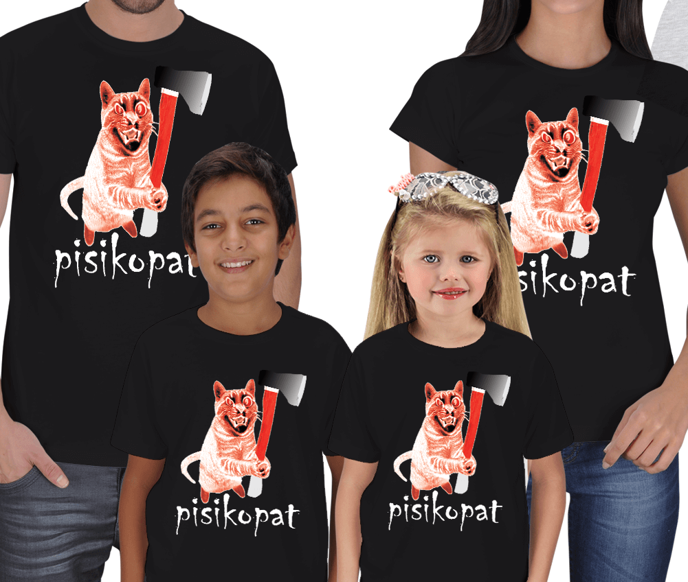 Pisikopat Kedi 4lü Aile Tişörtleri