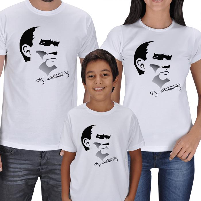 Atatürk Baskılı 3lü Aile Tişörtleri