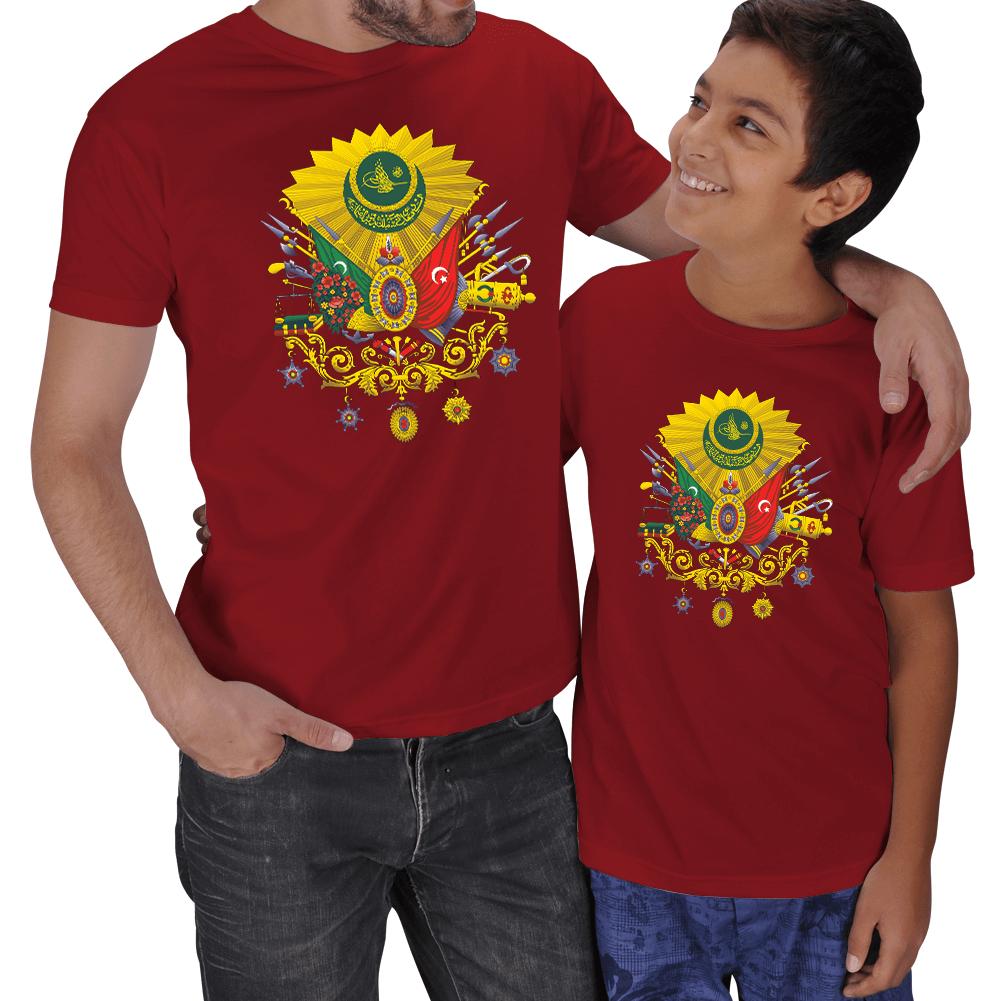 Kişiye Özel Osmanlı Devlet Arması Baba Oğul Tişörtleri