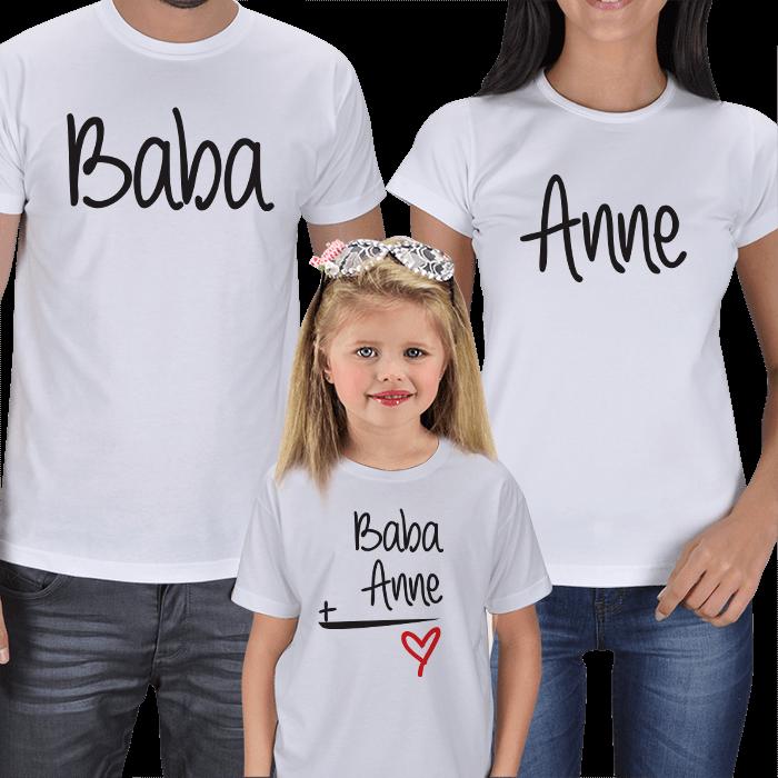 Anne Baba ve Kız Çocuk 3lü Tişörtler