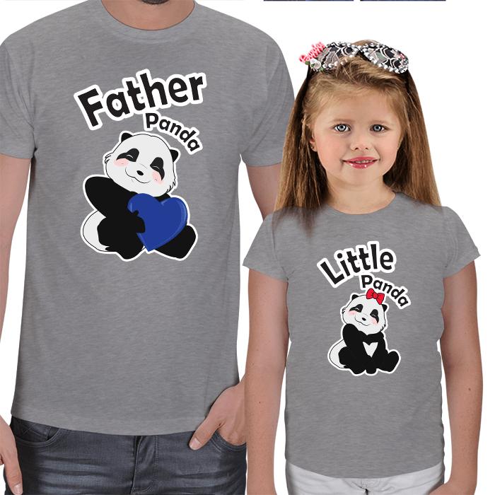 Panda Baba ve Kızı Tişört Kombini