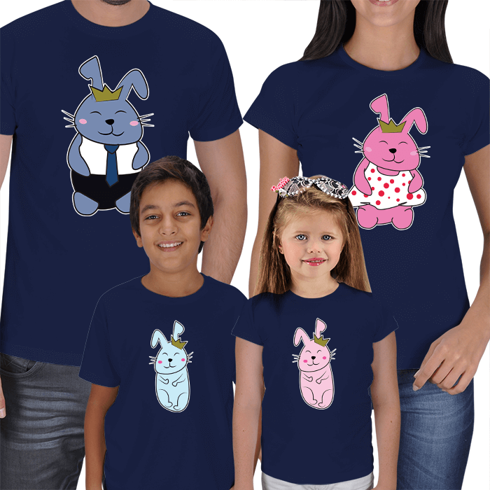 Sevimli Tavşanlar 4lü T-shirt Kombinler