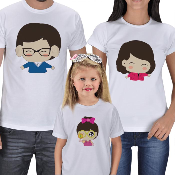 Chibi Anne Baba Çocuk Tişört Kombinleri