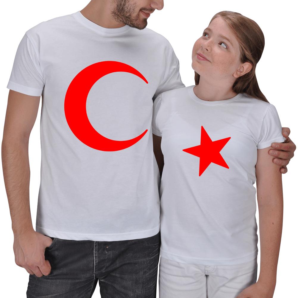 Ay - Yıldız 2li Baba Kız Çocuk Tişört Seti