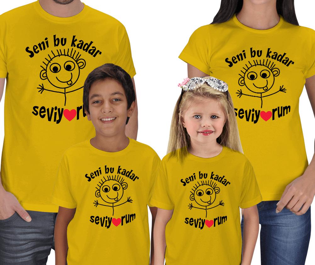 Seni Bu Kadar Seviyorum 4lü Aile Tişört